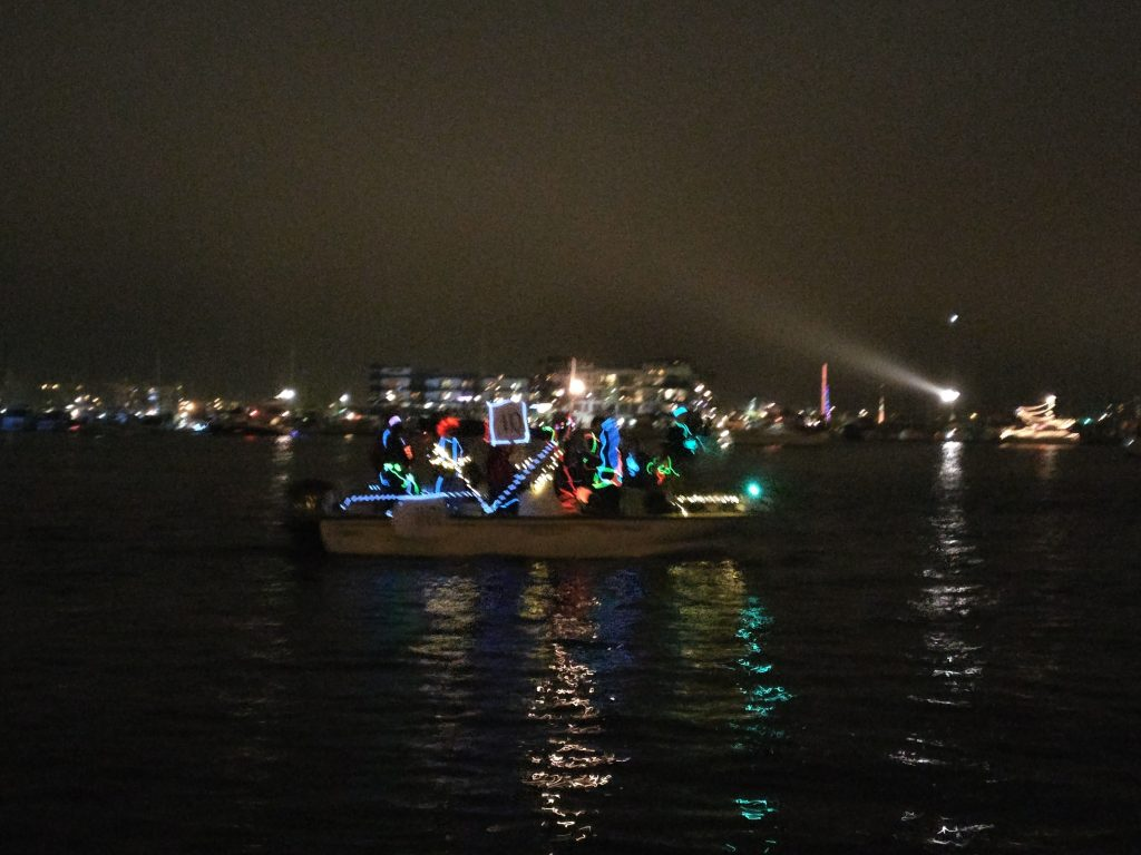 christmas light boat