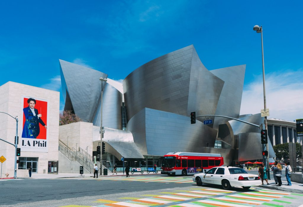 la phil walt disney concert hall blue sky downtown dtla la