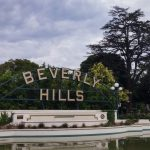 beverly hills sign and gardens los angeles california