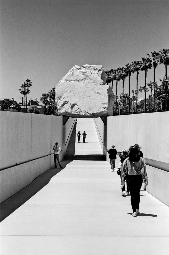 lacma boulder walk underneath west la museum