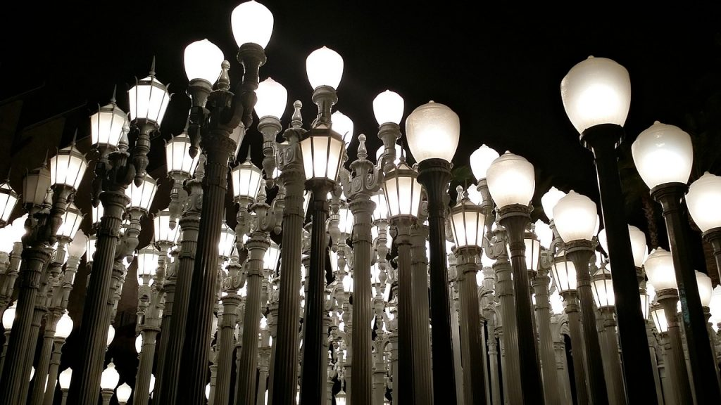 lacma lights statue at night