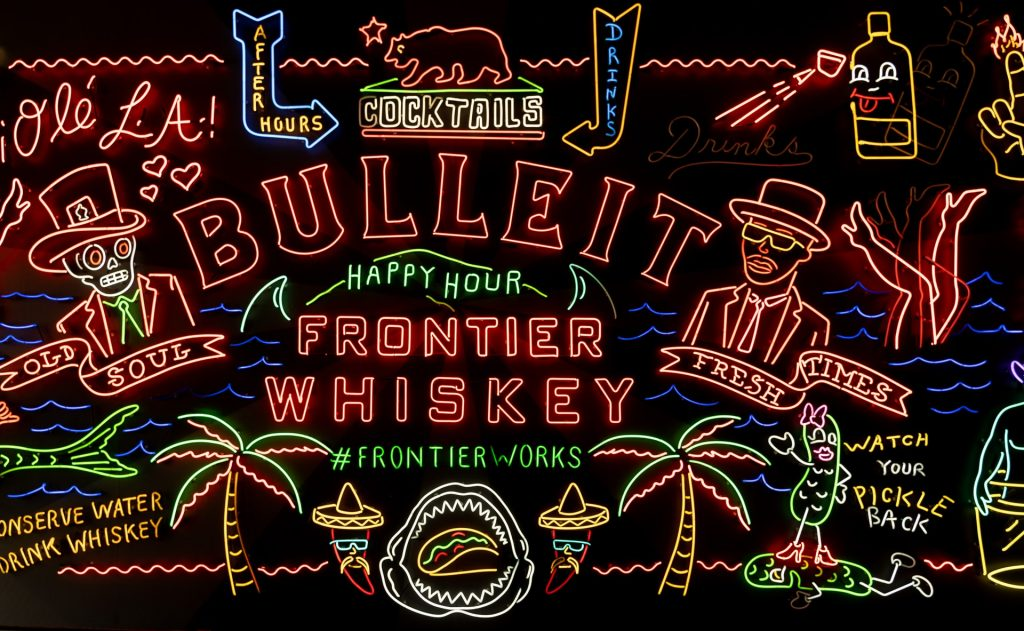 dtla grand central market neon wall whiskey frontier