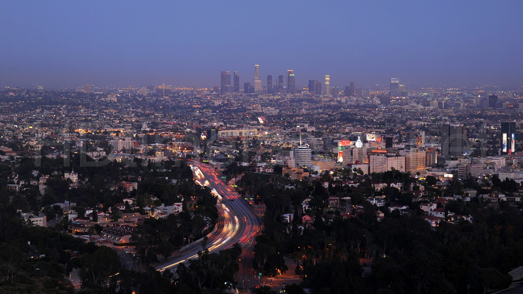 mulholland drive los angeles skyline sunset