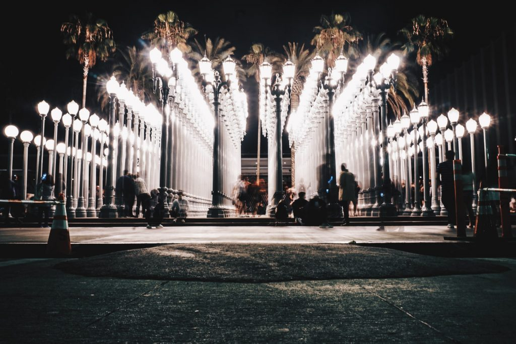 lacma urban lights at night art structure photo op