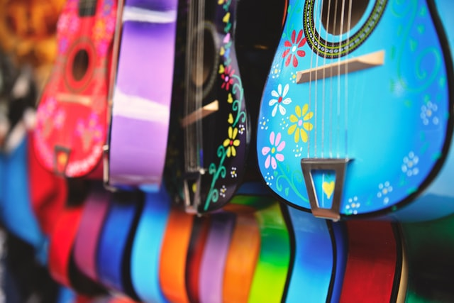 olvera street colorful guitars for sale dtla
