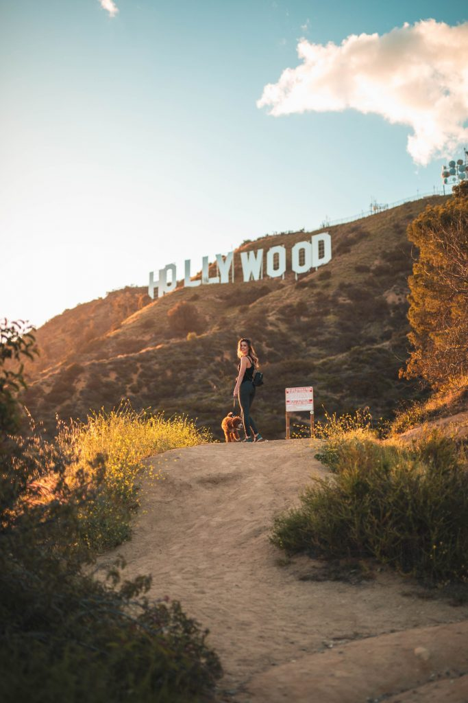 girl with dog hollywood sign yoga clothes workout outfit la