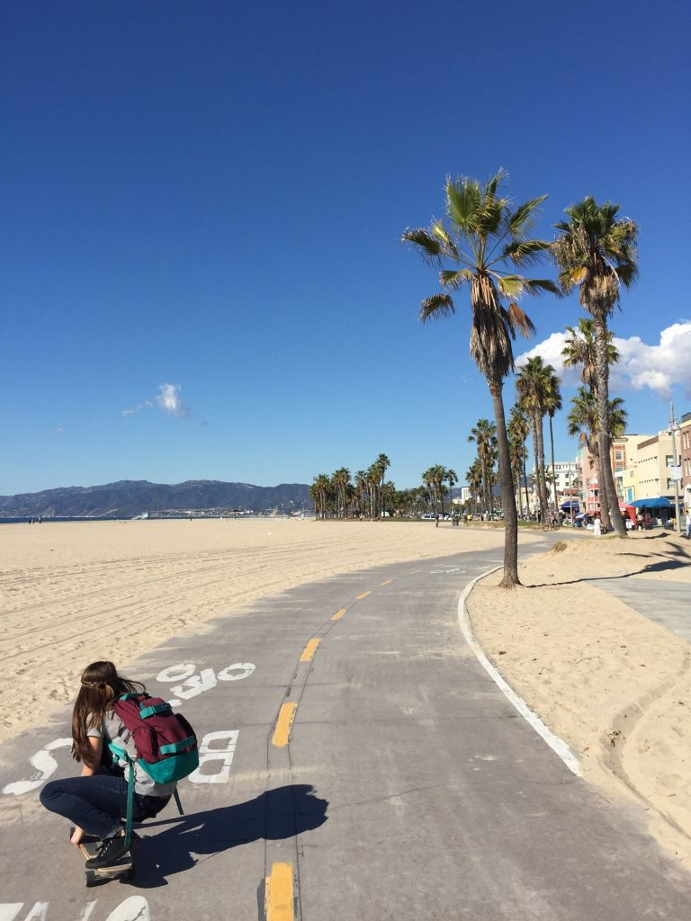 skateboarding girl venice beach trees palm