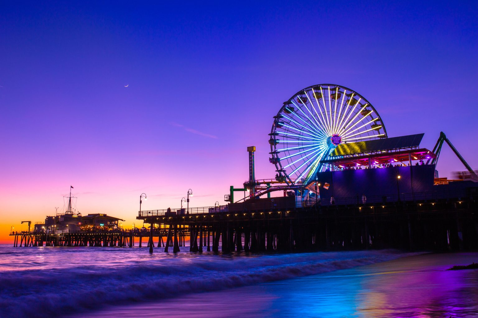 santa monica pier sunset cool colors