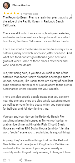 redondo beach review google