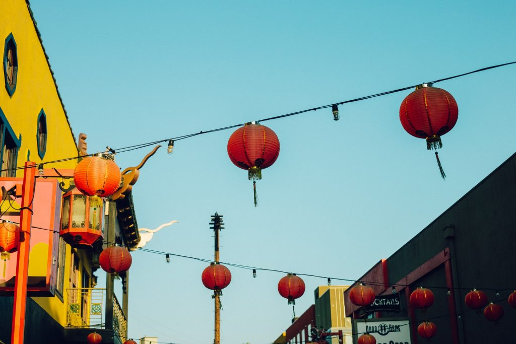 chinatown plaza central los angeles dtla la lanterns red