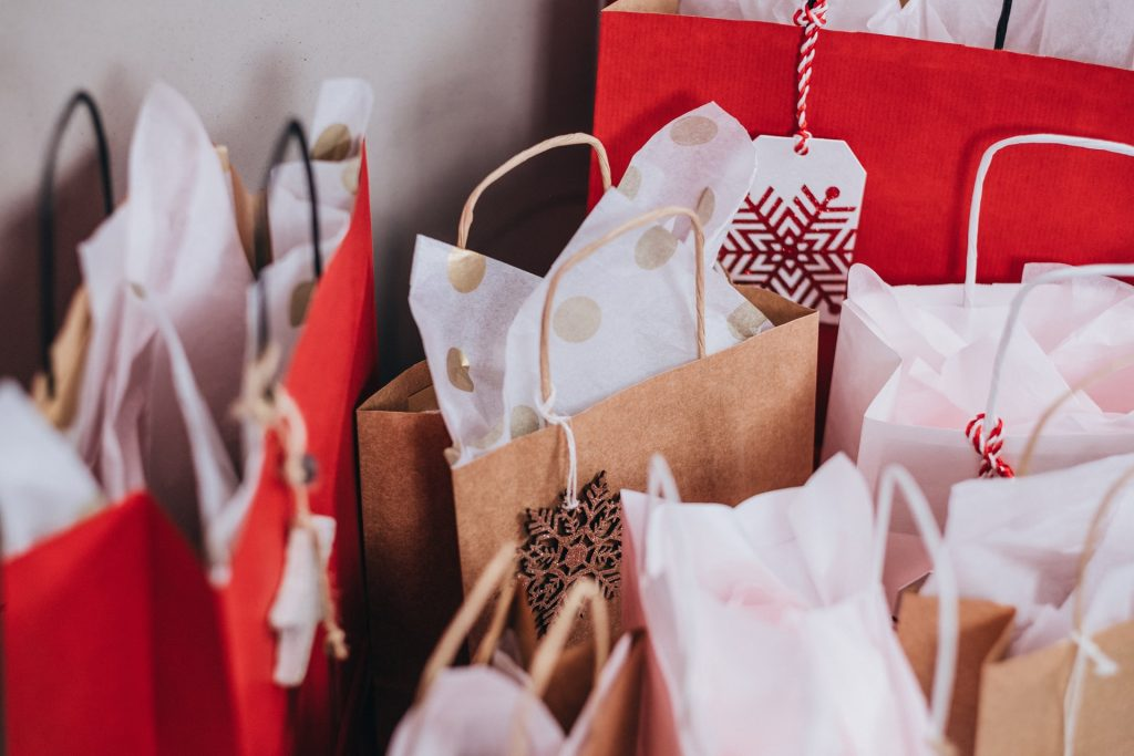 shopping bads christmas festive theme red and white and brown