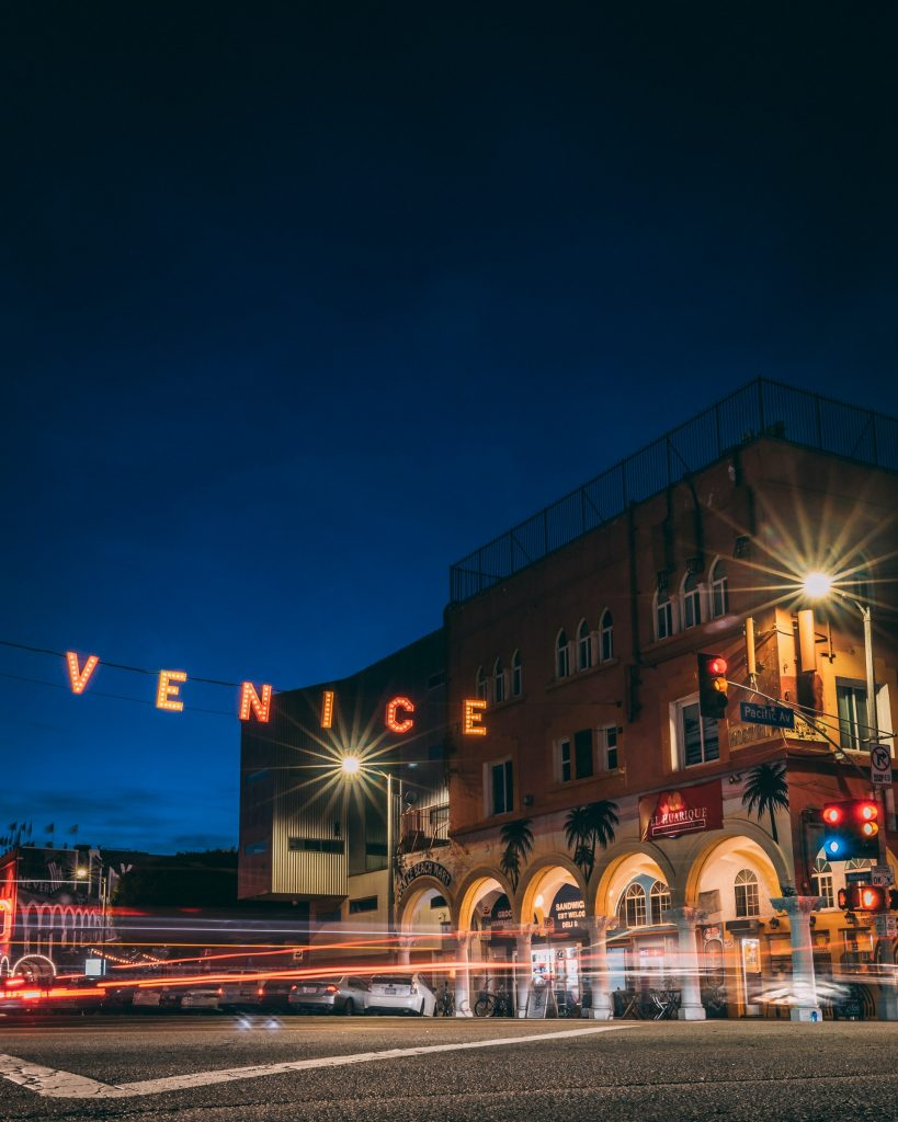 venice sign at night time lapse stop motion photography high interval