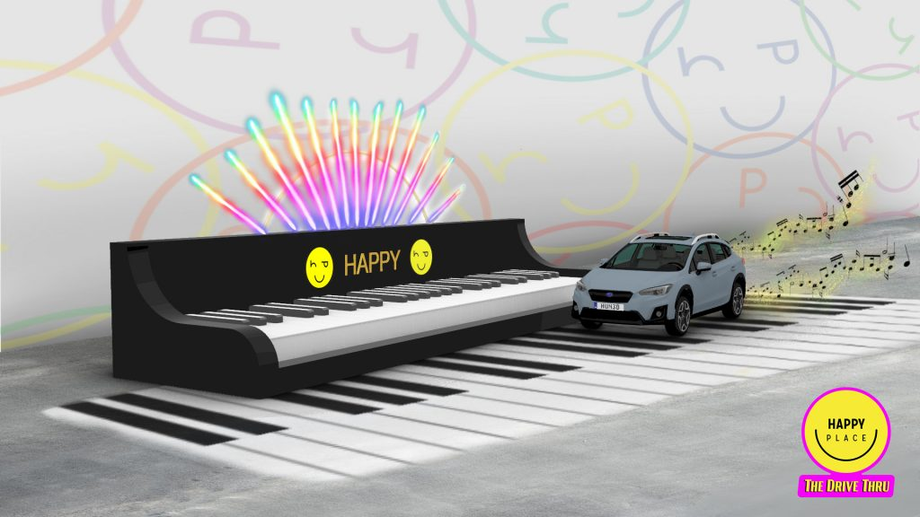 happy place the drive thru happiness exhibit car piano los angeles century city mall