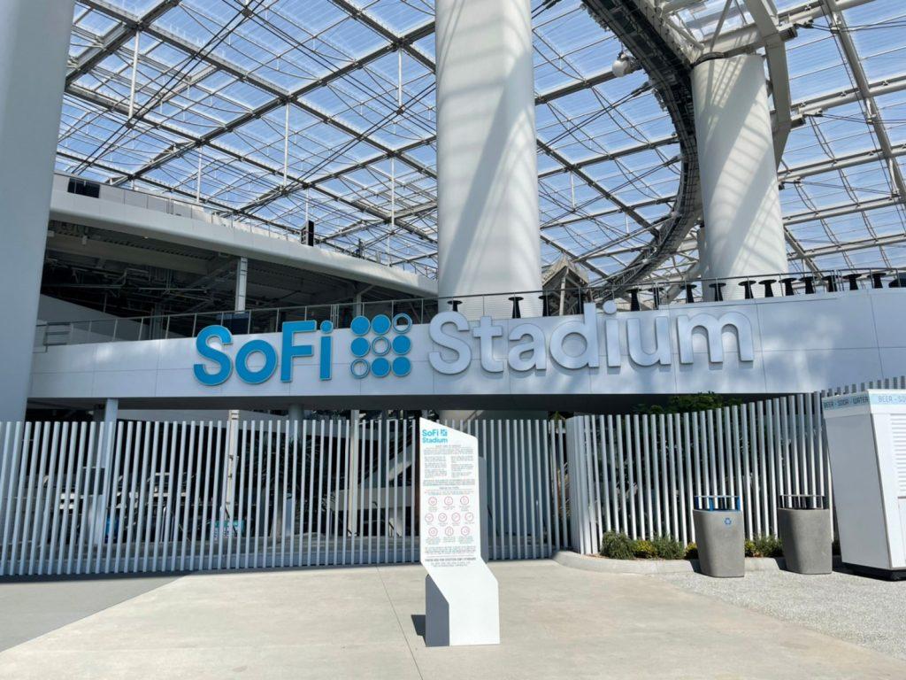 sofi stadium sign exterior outside