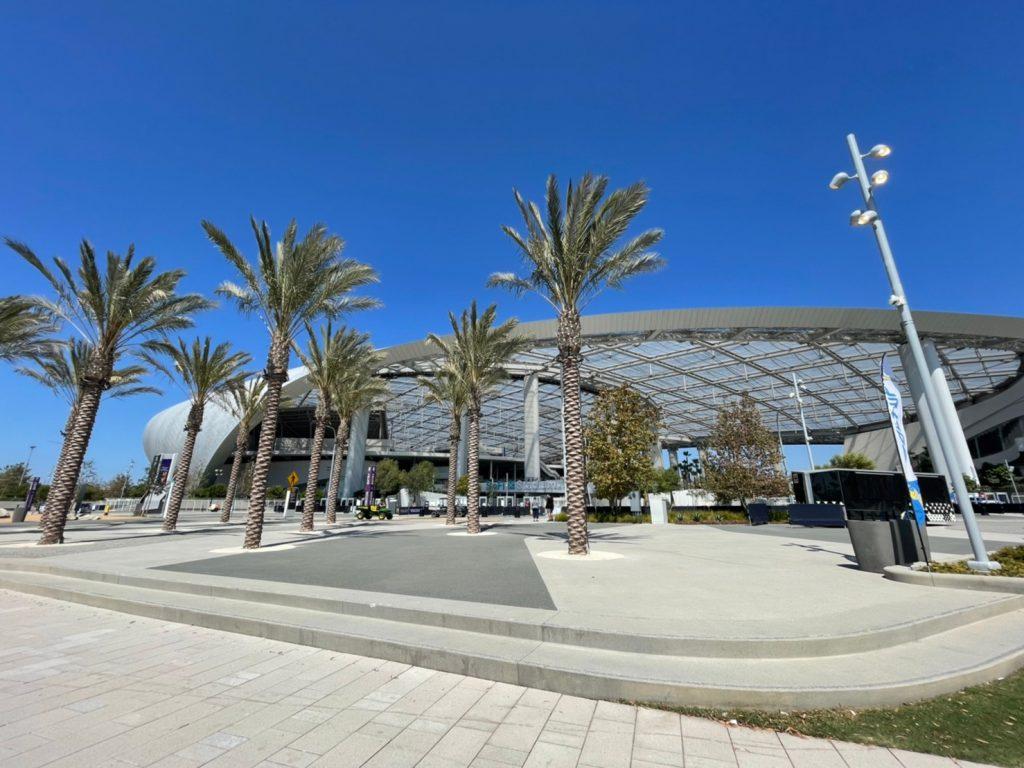 sofi stadium outside roof trees